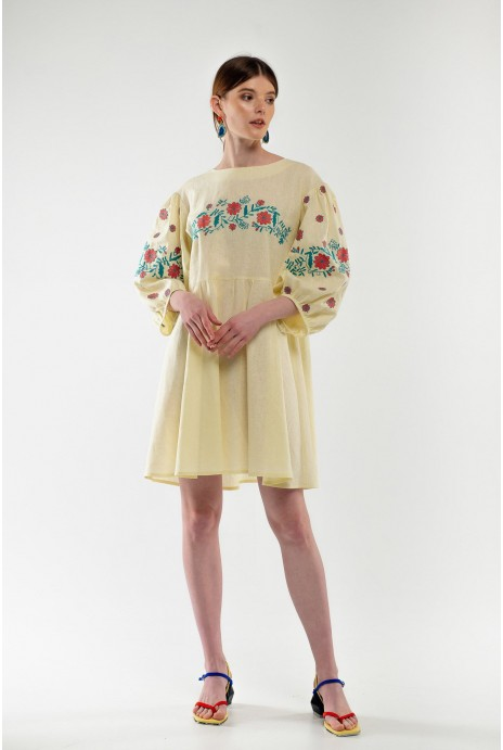 Embroidered dress Zozulka yellow
