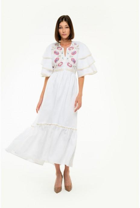 Вышитое платье Лыбидь белое