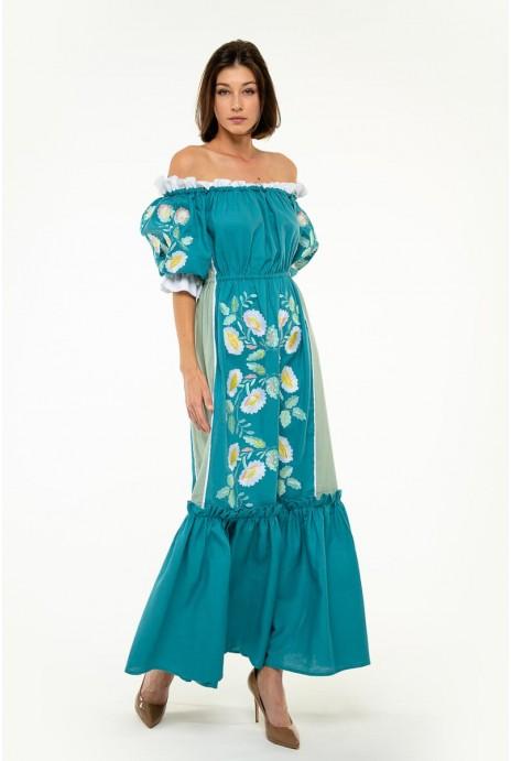 Вышитое платье Бережанка морская волна