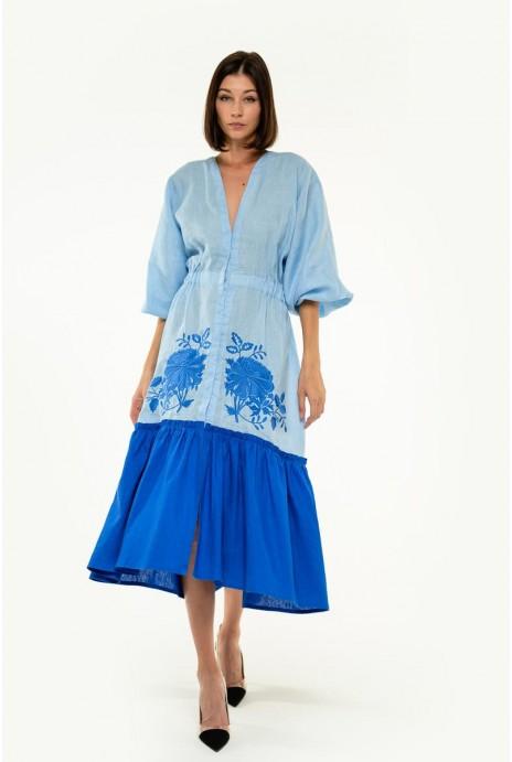 Вышитое платье Журавка голубое