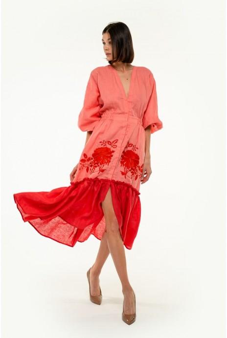 Вышитое платье Журавка корал