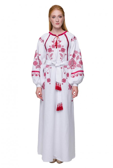 Embroidery dress Gromovytsya claret