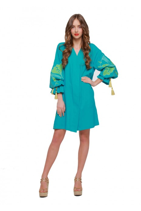 "Dress tunic vyshyvanka ""Pervotsvet"" turquoise"