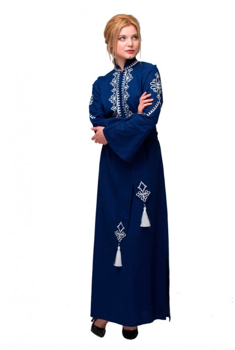 "Dress embroidered ""Roksolyana"" navy"