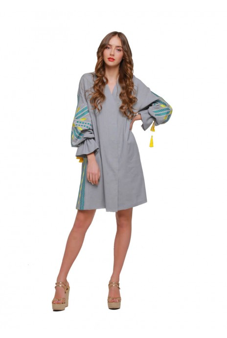 "Dress tunic vyshyvanka ""Shine"" grey"