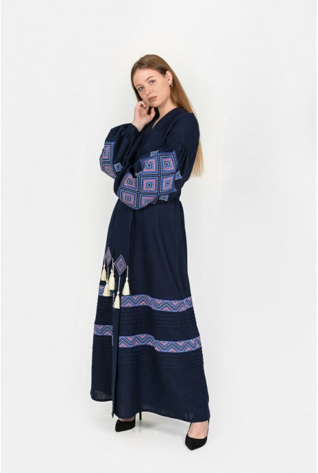 "Embroidery dress ""Suzir'ya"" dark blue"