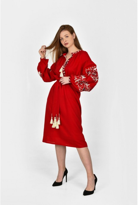 "Embroidery dress ""Vladarka"" claret"
