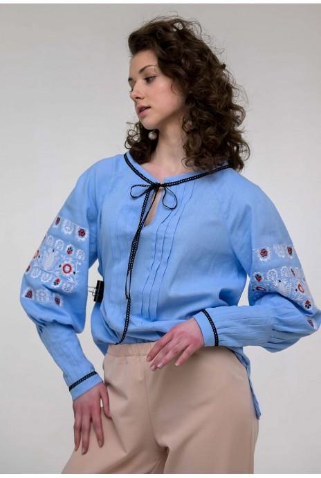 Женская вышиванка Шипит голубая