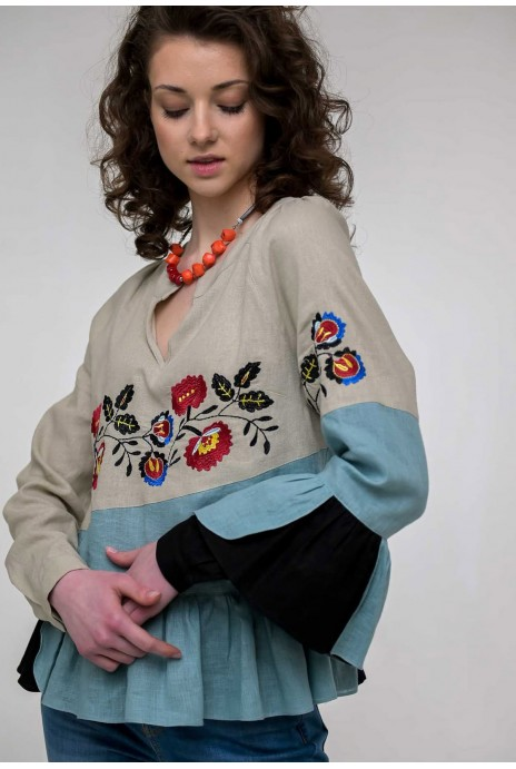 Embroidered shirt Kamyanka beige