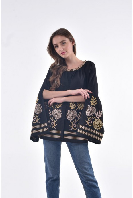 Blouse embroidered Knyajna black