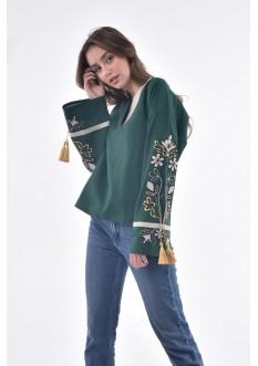 """Блуза """"Квітуча долина"""" темно-зелена"""