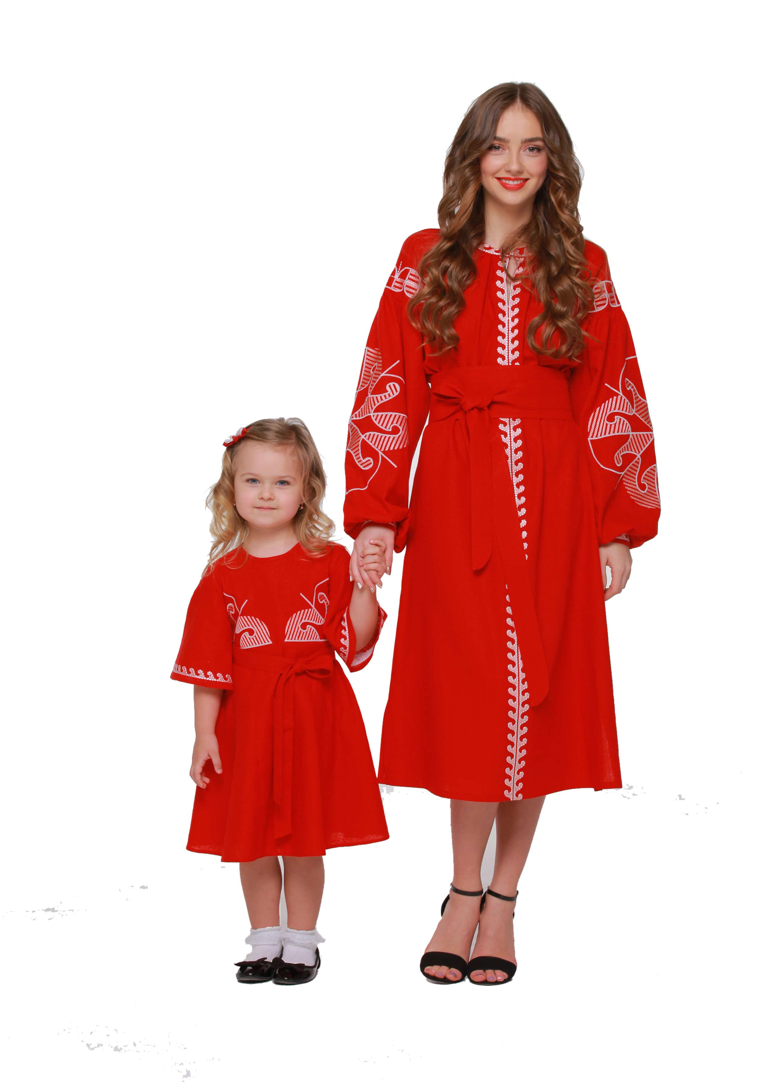 a440f29dd29f42 Сукні вишиванки для мами та дочки « Веснянка» бордо - 2KOLYORY