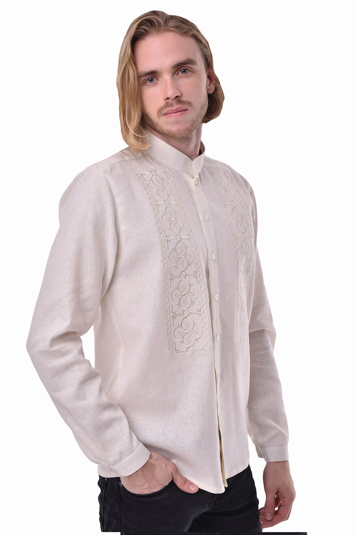 Чоловіча вишита сорочка «Сила» молочна - 2KOLYORY 091a60f829c41