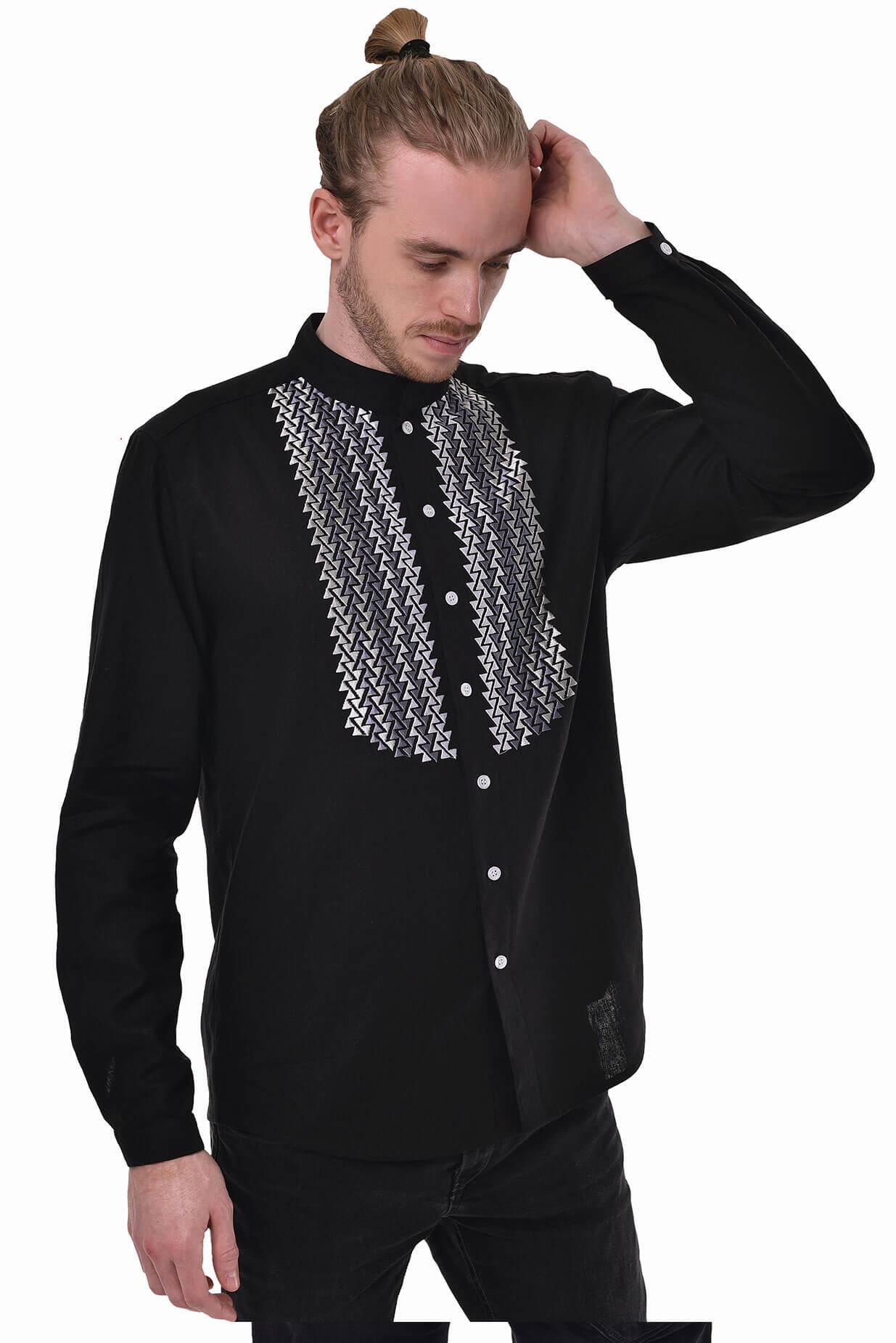 Чоловіча вишита сорочка Шепіт чорна - 2KOLYORY 9af3b69725b6f