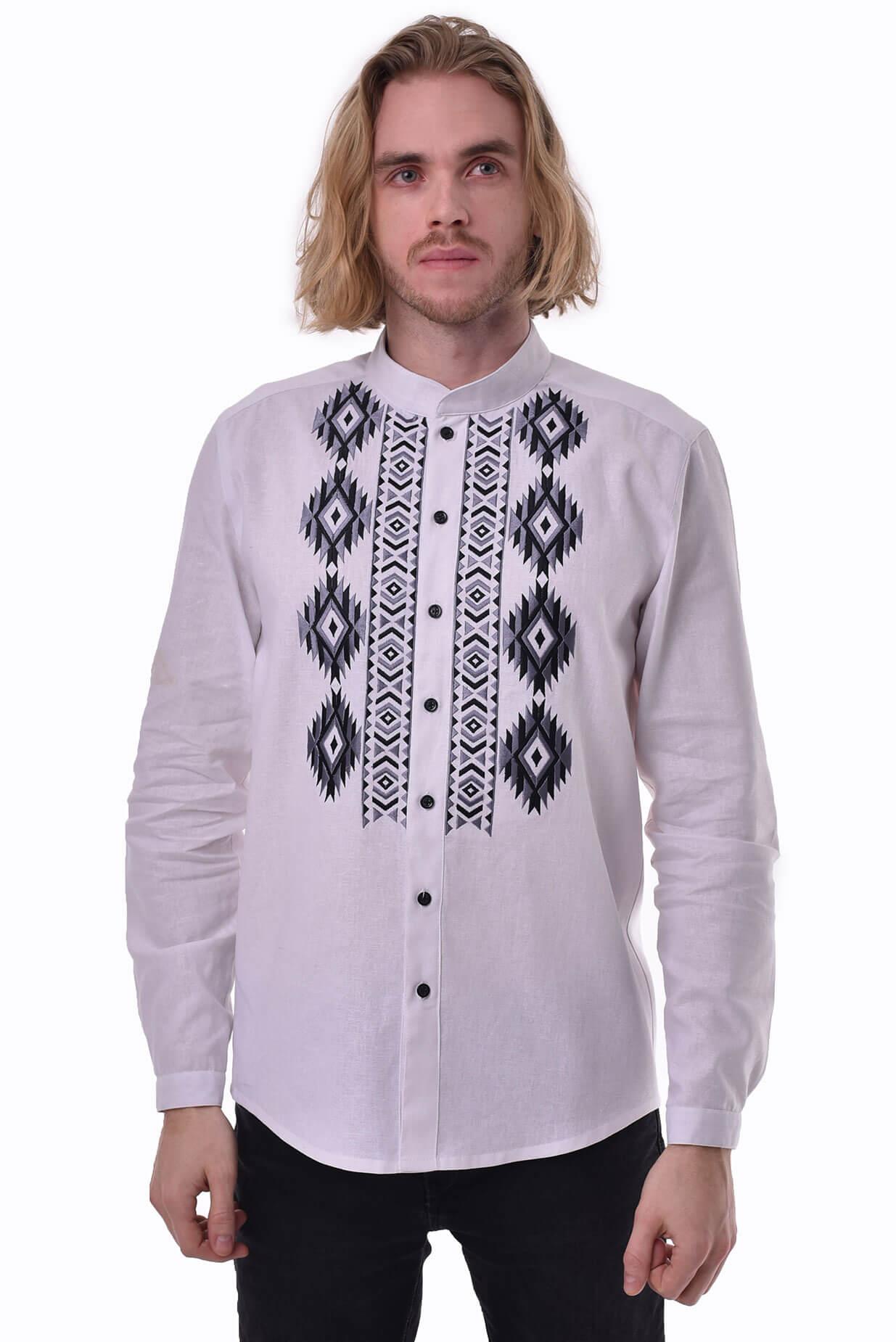 Чоловіча вишита сорочка «Звага» біла - 2KOLYORY 4bc86f2568d11