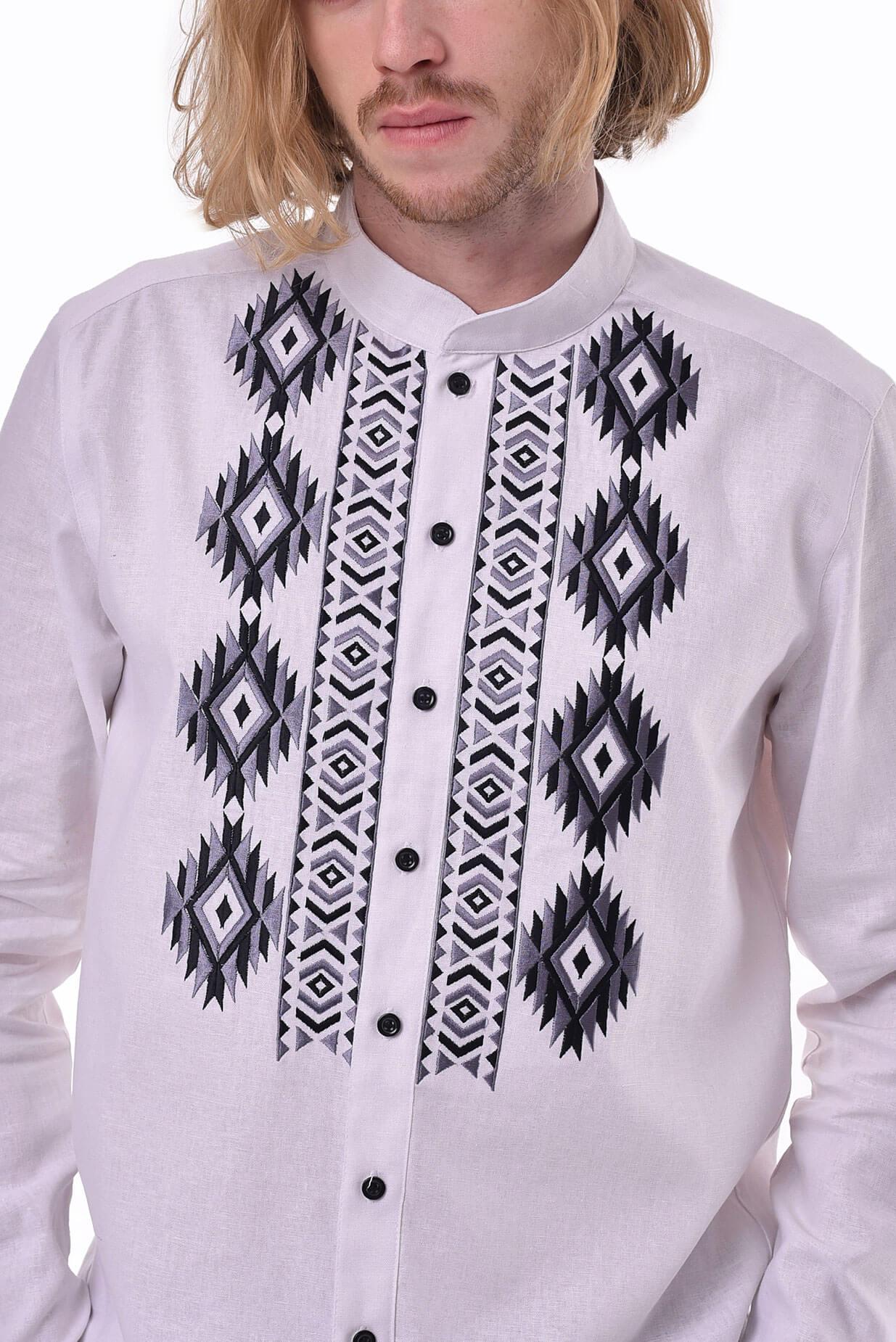 Чоловіча вишита сорочка «Звага» біла - 2KOLYORY f067f3e7fad01