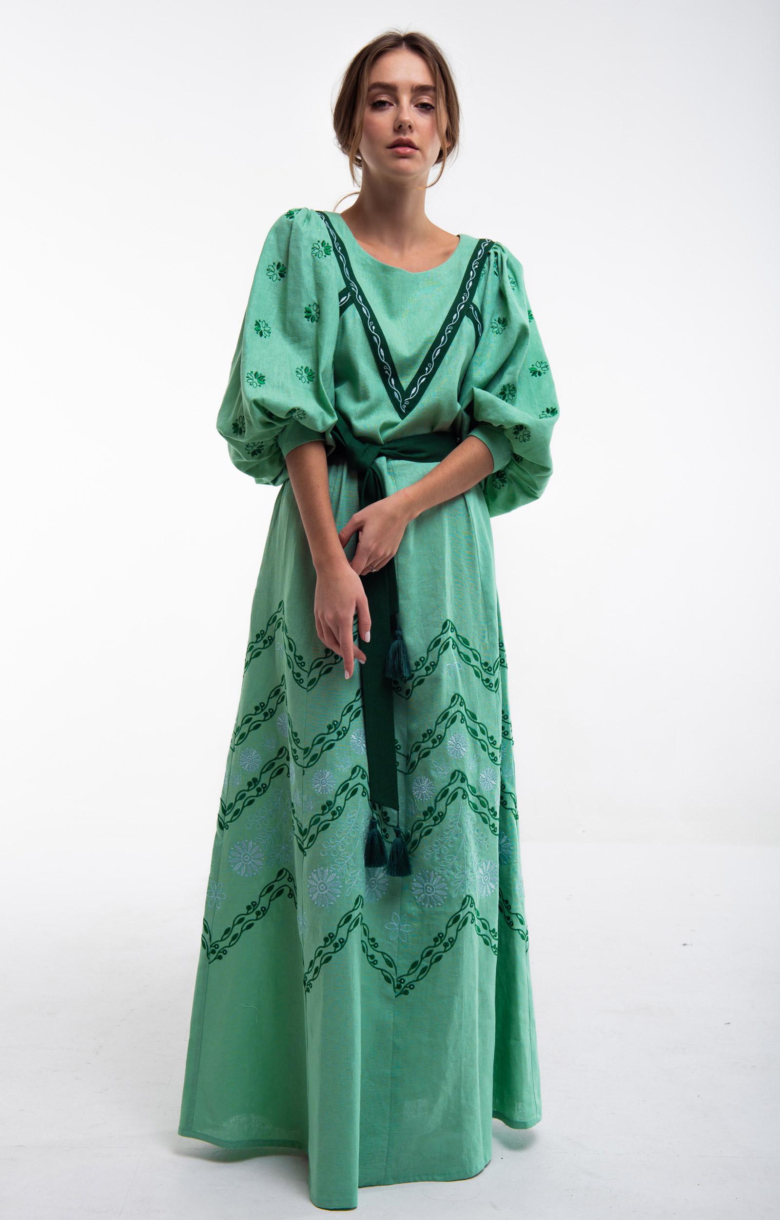 4df86d3bf3ffb70 Платье вышитое Леля зеленое - 2KOLYORY