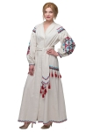 "Dress embroidered ""Barvogray"" beige"
