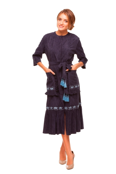 "Dress embroidered ""Kolosky"" darkblue"