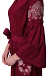 Embroidered dress Bagrovka claret