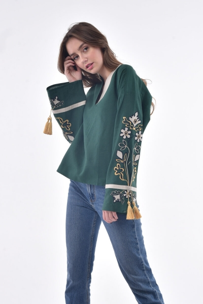 "Blouse embroidered ""Kvitucha dolina"" green"