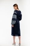 Embroidered dress Spadok dark blue